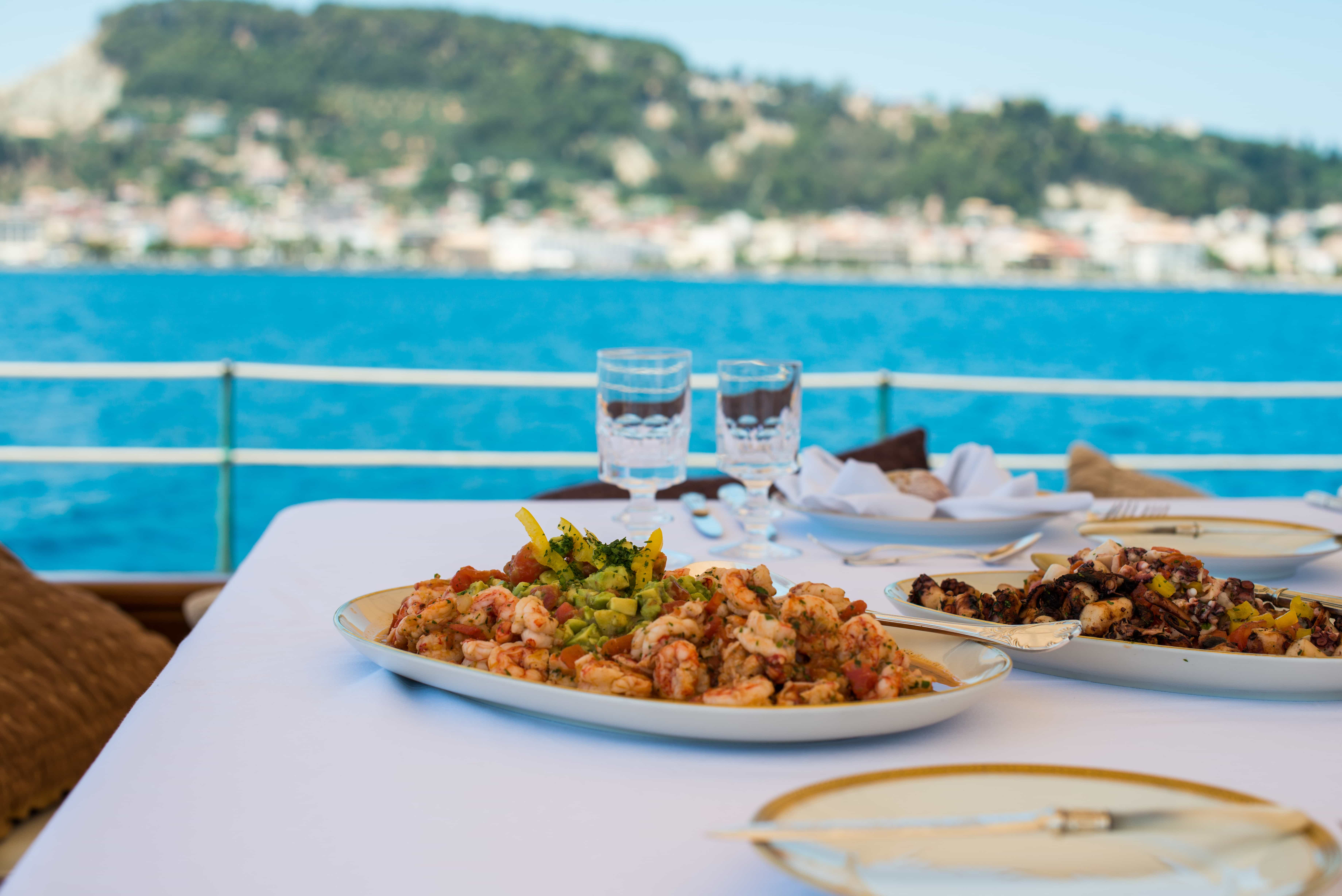Comida especial a bordo de un velero